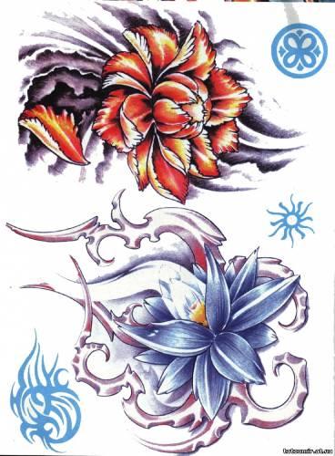 татуировки цветов эскизы.